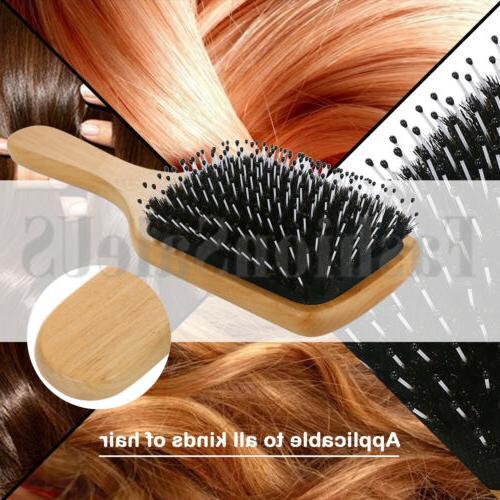 Fashion Wood Natural Boar Bristle Hair Paddle