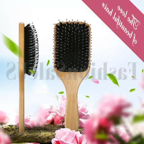 Fashion Wood Boar Bristle Paddle Hairbrush