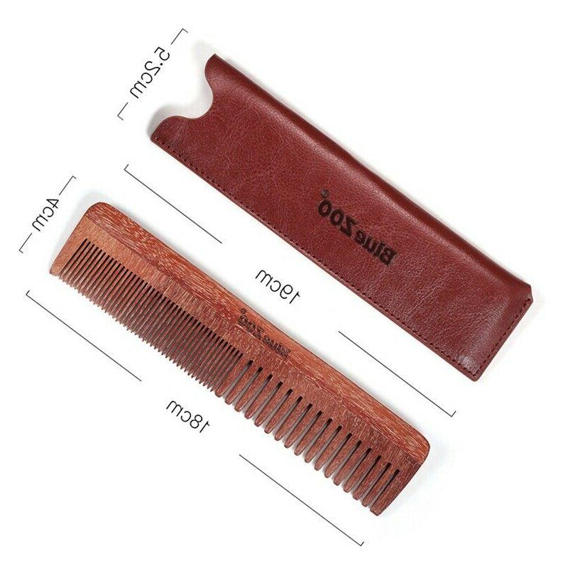 Hair Comb Fine Thick Wooden Leather Sandalwood