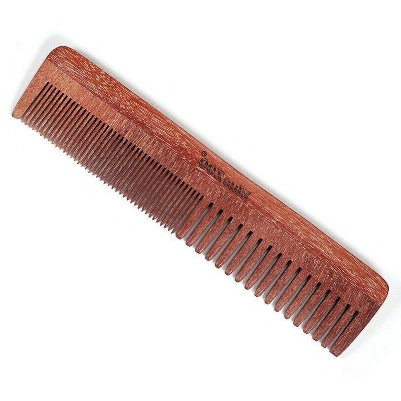 Hair Brush Fine Tooth Men's Wooden Leather Case Sandalwood