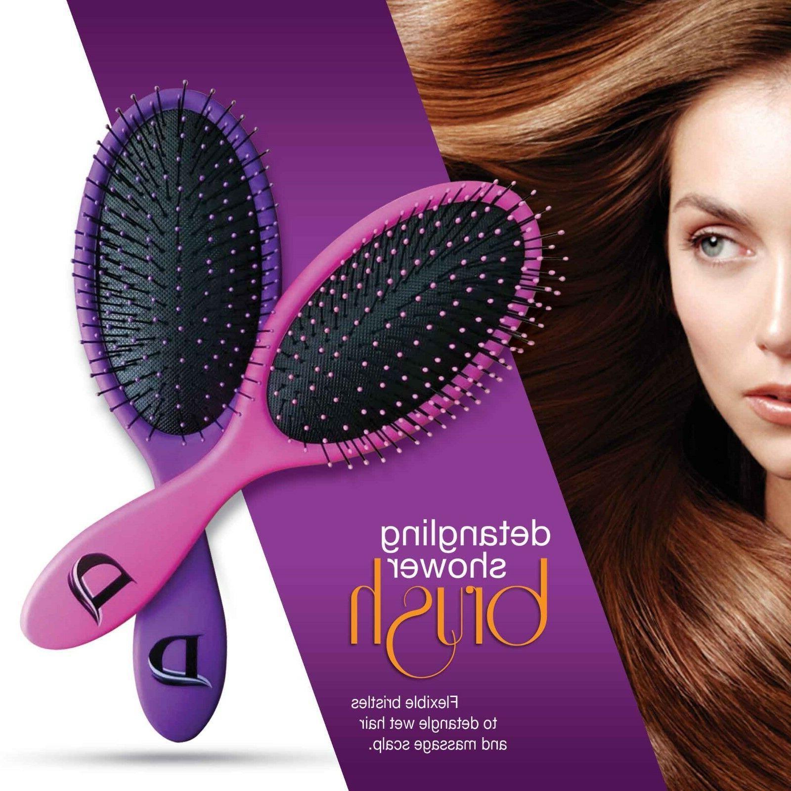 Hair Brush Metallic Detangler Pink & Purple Wet