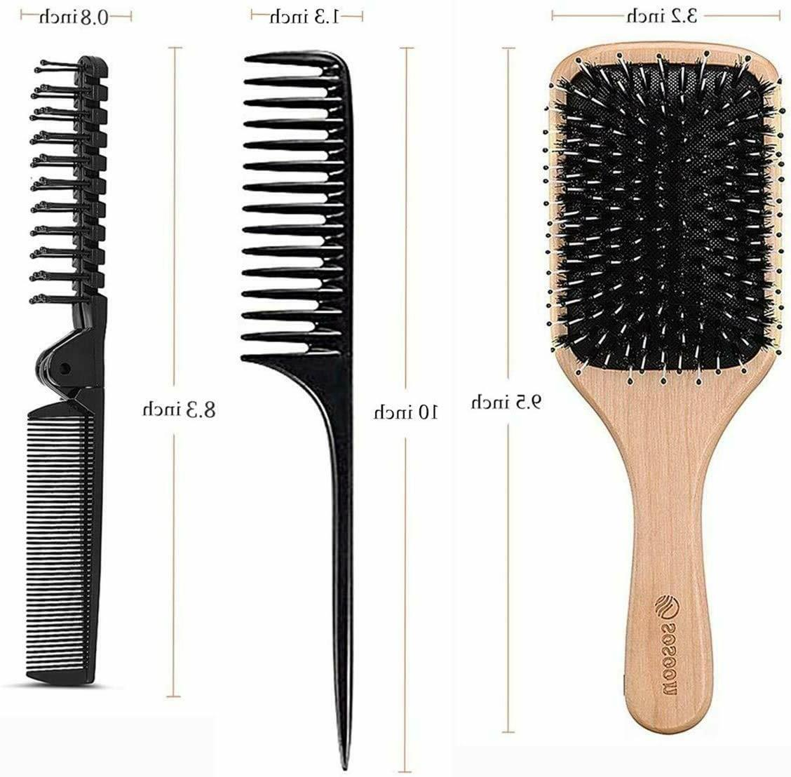 Hair Sosoon Boar Bristle Hairbrush Long Thick Curly Dry