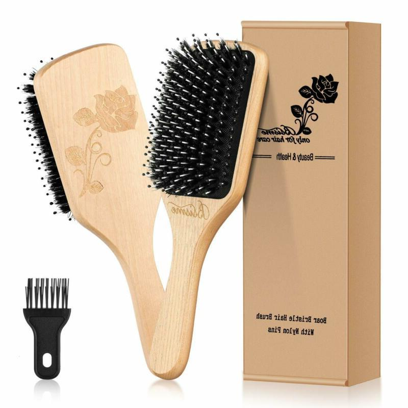 Hair Brush- Natural Boar Bristle Hairbrush With Cleaner Tool