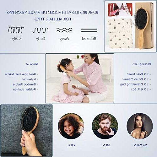 BESTOOL Hair Brush-Boar Hair Brush Detangle Pins, Oval Paddle Brush, Detangling Shine for and Hair, Use Texture