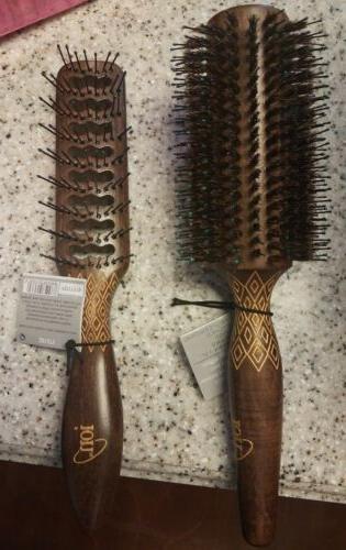 hair brush wood boar bristle nylon blend