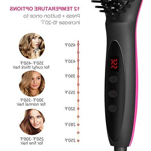 Hair Straightener ETEREAUTY Ceramic Hair Straightening Brush Hair Comb for Women with Technology, Heating Auto Shut Temperature