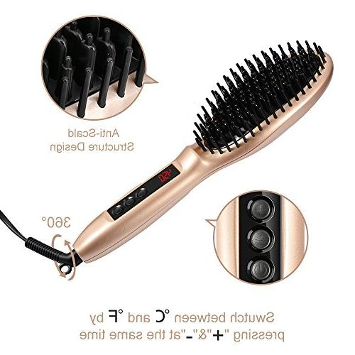 Bestidy Hair Brush Electrical Heated Comb Hair Auto Features, LCD Display Push Button