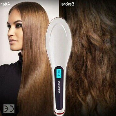 Hair Straightener Brush LED Straight Hair