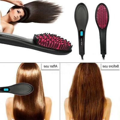 Hair Straightener Brush LED Instant Silky Straight Hair Styling Tools