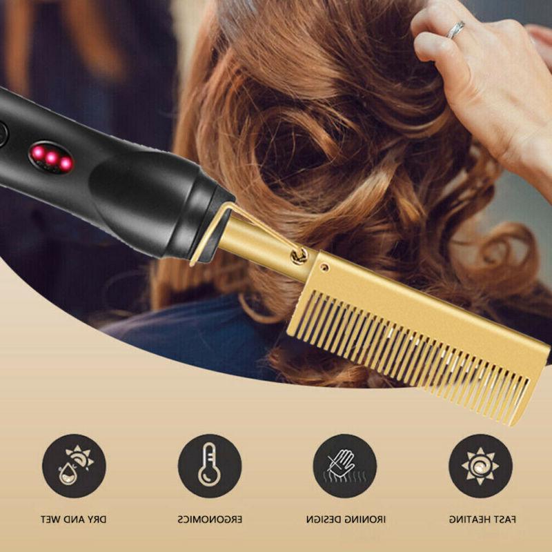 Hair Straightener Flat Irons Straightening Straight Brush Hot Heating Comb