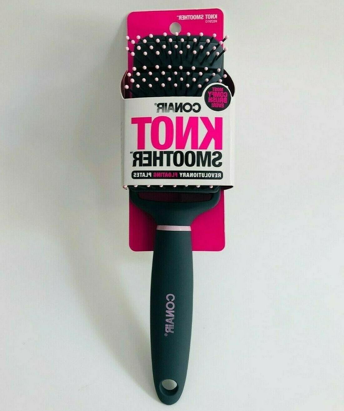 knot smoother hair brush pink and grey