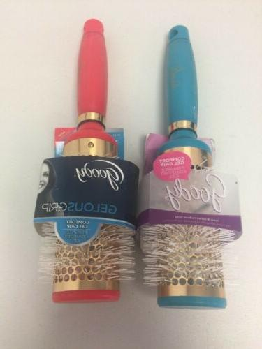 Lot 2 Goody Gelous Gel Grip Hair Brush Round Vented Blue & R