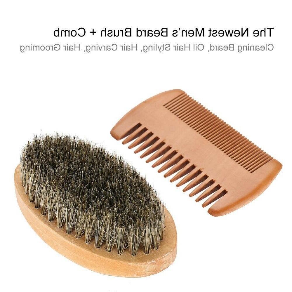 Men Boar Hair Beard Hard Round Wood Handle Comb