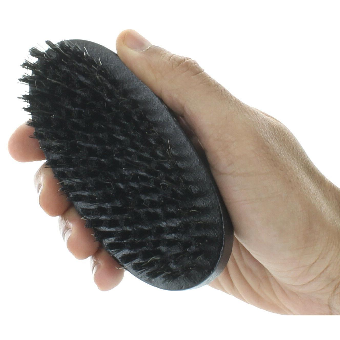Men Boar Hair Bristle Beard Soft Round Handle Black
