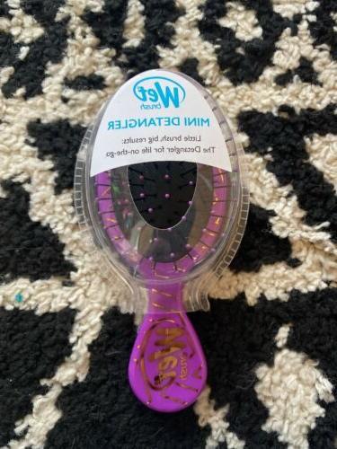 mini detangler hair brush purple and gold