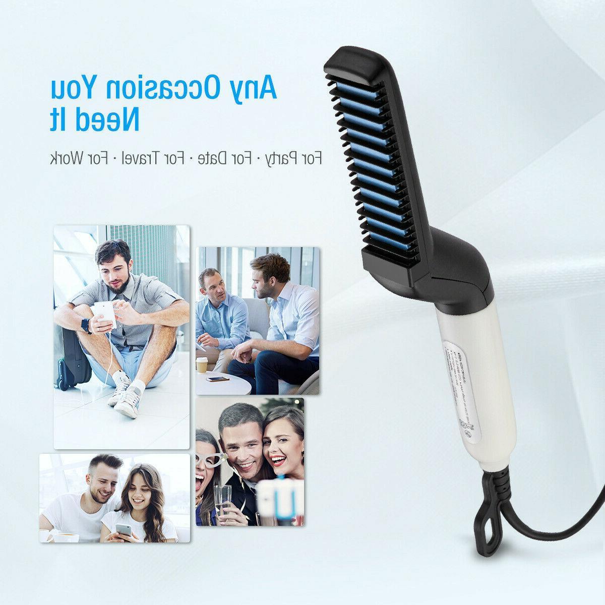 Multifunctional Hair Straightener Men Brush Beard Comb