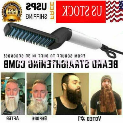 multifunctional quick beard straightener hair brush comb