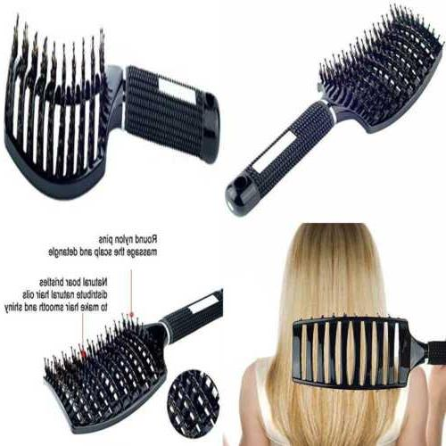 natural boar bristle hair brush curved vented