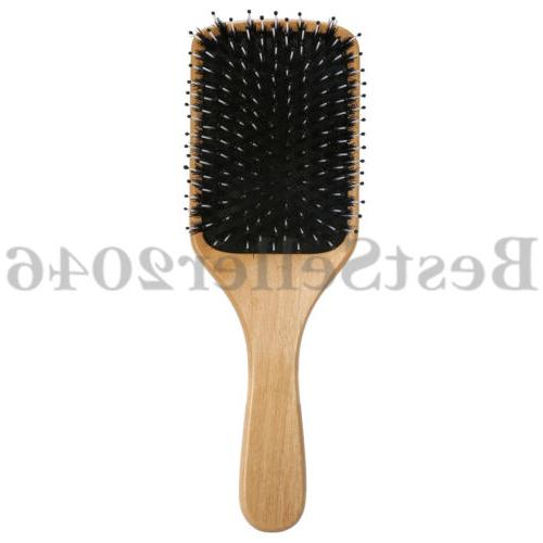 natural boar bristle hair brush wooden paddle