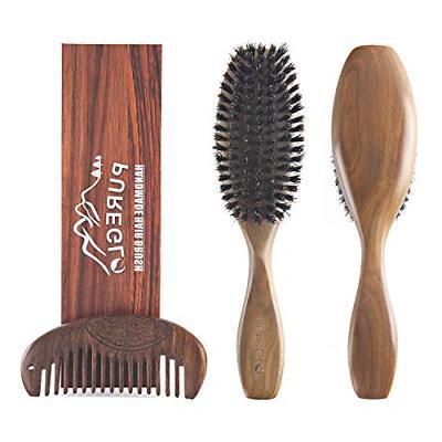 natural green sandalwood paddle hairbrush for men