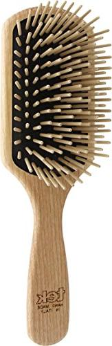 Paddle brush in ash wood with long pins