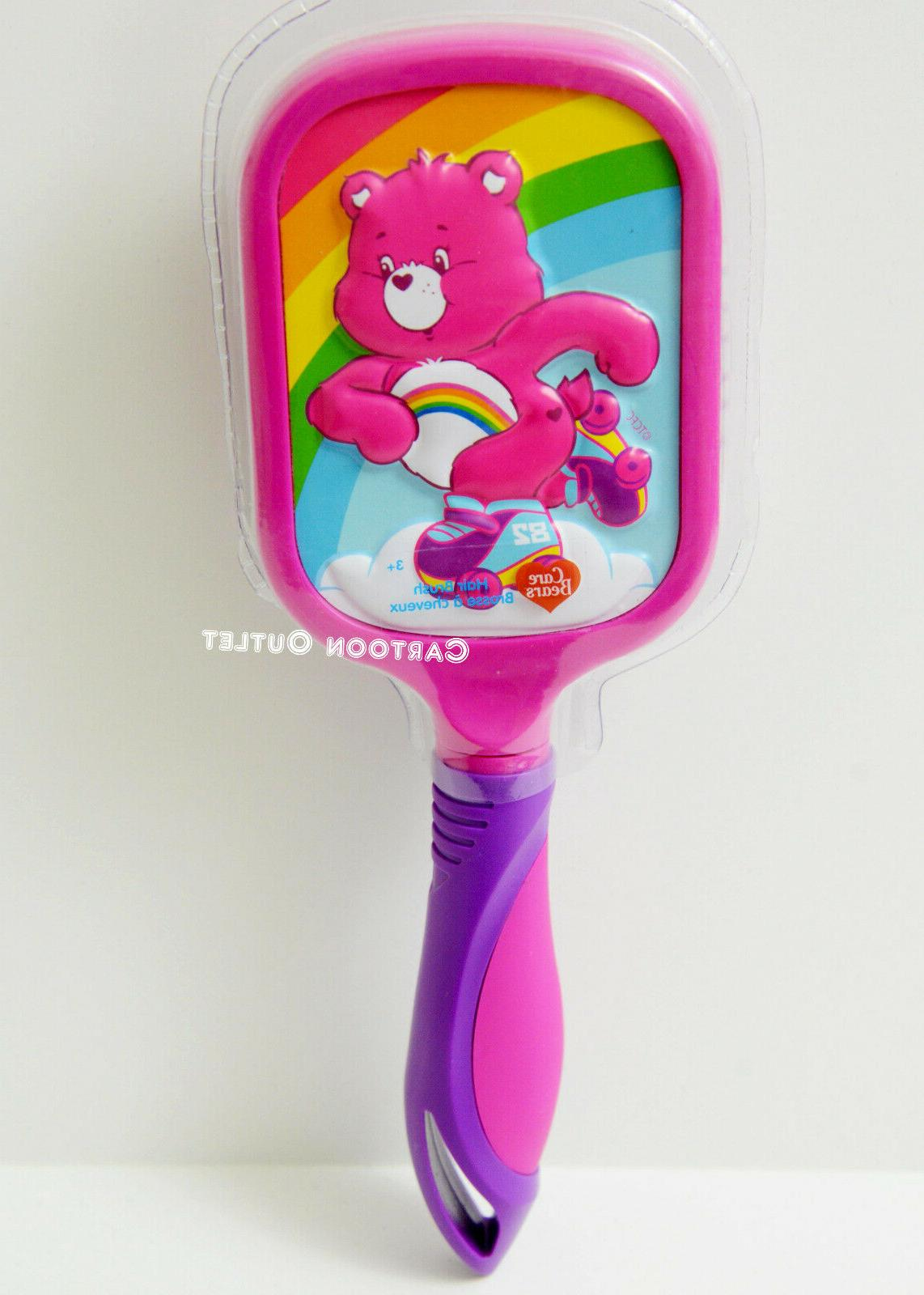 CARE BEARS PINK RAINBOW BALL TIPPED PADDLE LARGE HAIR BRUSH