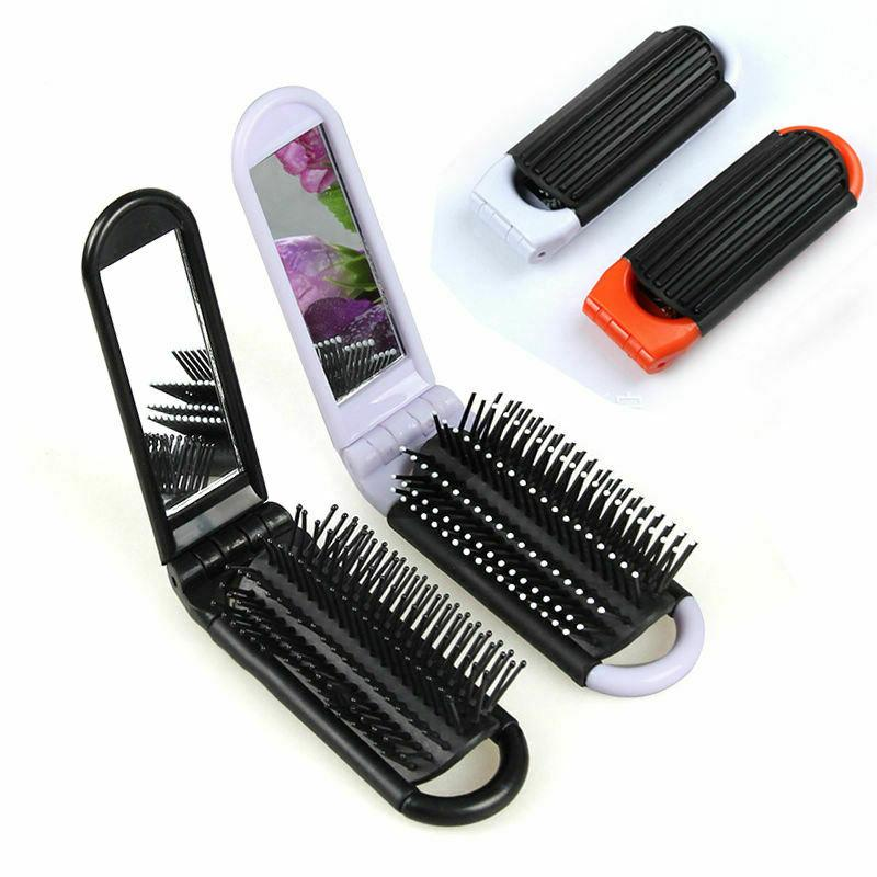 portable folding hair brush with mirror compact