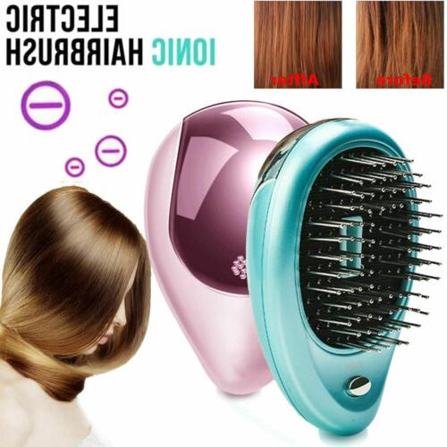 Portable Ionic Hair Brush Anti Tangle Hairbrush Massage Comb