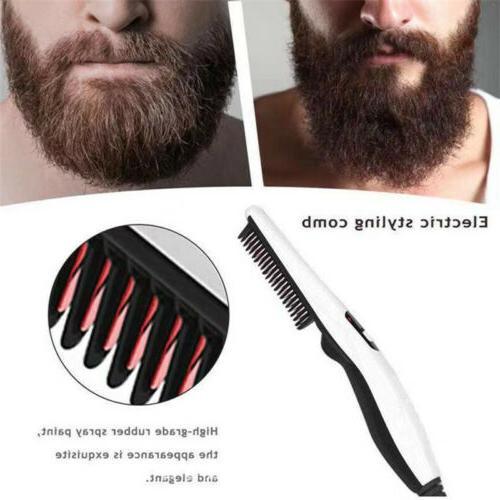 Hair Beard Straightener Comb Brush Electric Quick Heated Men