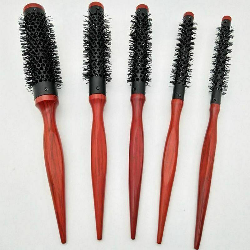 Roller Small Round Men's Hair Brush Comb Wooden Handle Alumi