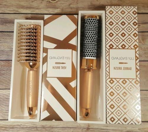 rose gold hair brush gift set round