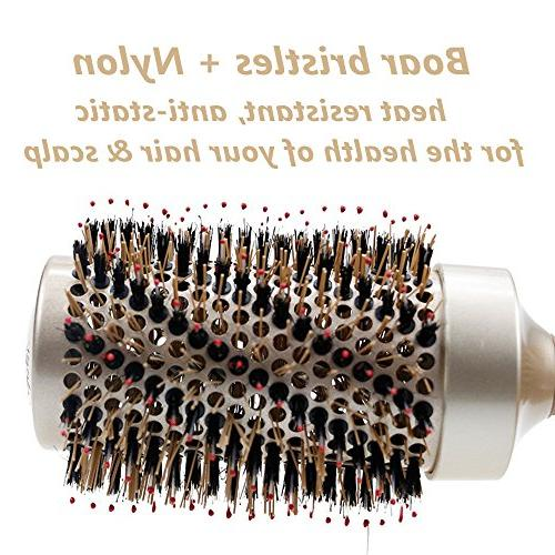 Round Barrel Brush Natural Bristles Nylon,Fast Blow Dry Salon Styling For Women Men Curly Wavy Straight Volume