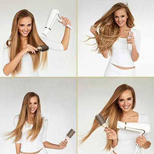 Fagaci Round for Blow Drying with Boar Bristle, Round   + Ionic Hair Styling, Drying, Healthy Hair and Hair Brush + 4 Styling Clips