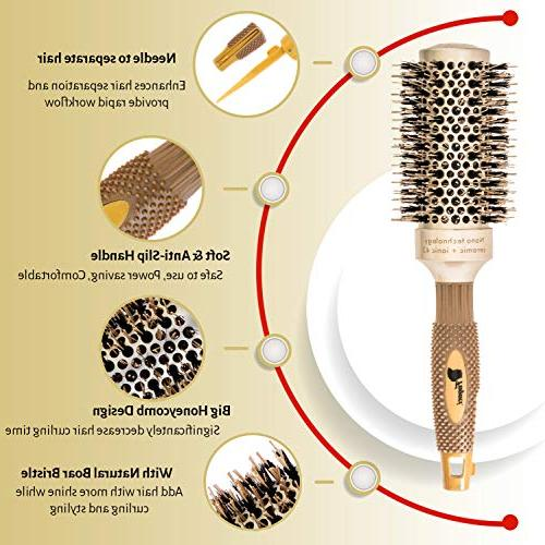 Fagaci for Blow with Boar Bristle, Round   Nano + Ionic Styling, Drying, Healthy and Hair 4