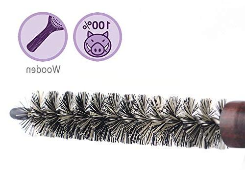 Small Round Hair for Short Hair, Mini Boar Bristle Blow Drying Inch