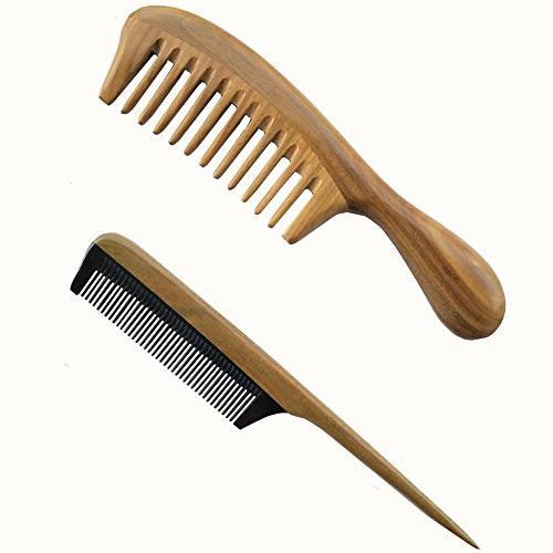 sandalwood wood comb static handmade