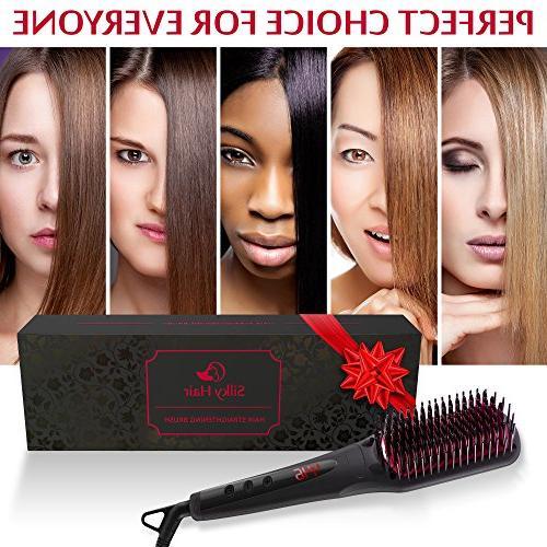 Hair Straightening Ceramic Hot Hair Brush Frizz-Free - Best Electric Straightening Brush Gift travel