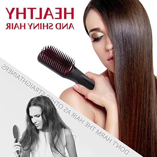 Hair Brush - Ceramic Heat Hair Straightener Brush - Frizz-Free Straightening - Straightening Gift travel