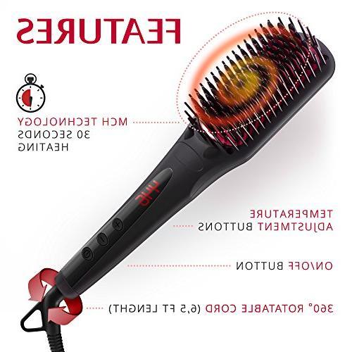 Hair Brush - Ceramic Hair Frizz-Free Curly Hair Straightening - Gift for travel