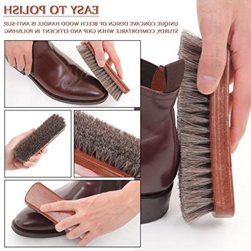 TAKAVU Shine Brush with Horse Hair Boots, & Other Leather Care