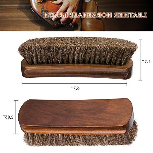 """TAKAVU 6.7"""" Horsehair Shoe Shine with Horse Hair for Boots, Leather Care"""