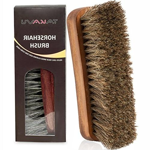 "TAKAVU 6.7"" Horsehair Shine Brush Hair Bristles Boots, Leather Care"