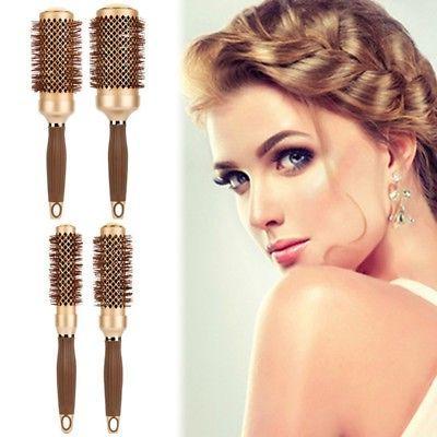 US Pro Ceramic Iron Round Curl Brush Comb Hair Dressing Barb