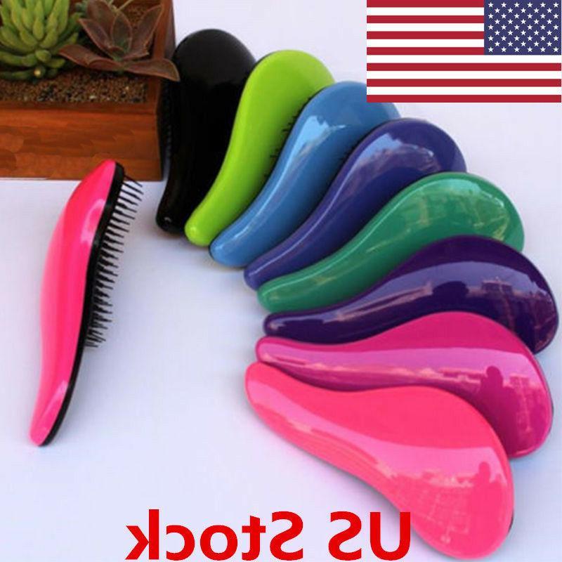 US Adult Children Unisex Hair Brush Comb Plastic Gentle Deta