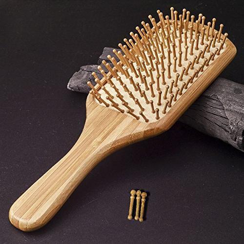 Natural Brush Eco-Friendly Bamboo Bristles Hairbrush Scalp Massage Thin,Straight,Long,Curly,Short Hair Health,Paddle Detangling Brush