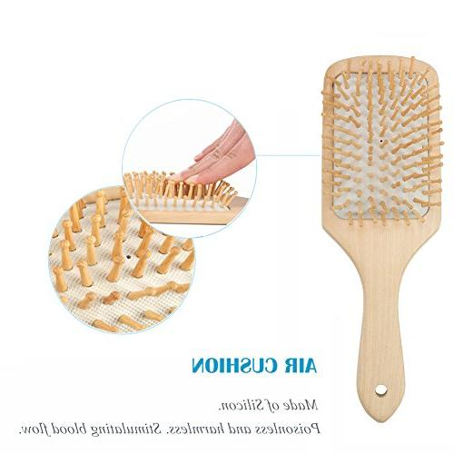 Natural Wooden Hair Brush Air Hair Scalp Massage Care Detangling Comb for Thin Wet Hair