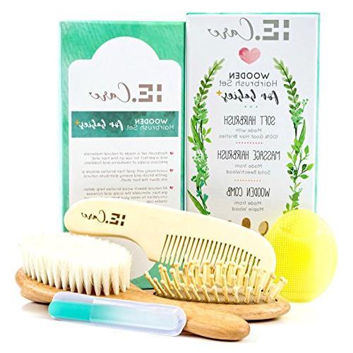 wooden hair brush comb set