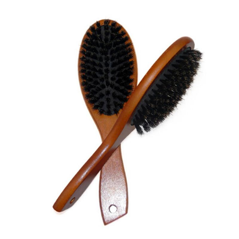 Wooden Comb Natural Wild Boar Anti-static <font><b>Hair</b></font> Scalp Paddle Beech <font><b>Brush</b></font>