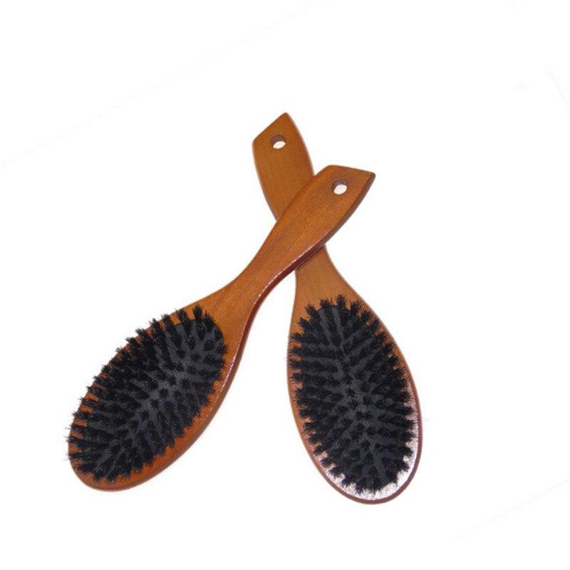wooden massage comb natural wild boar bristles