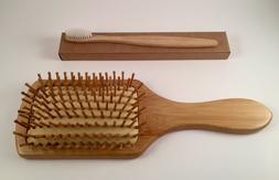 large bamboo paddle hair brush with wood